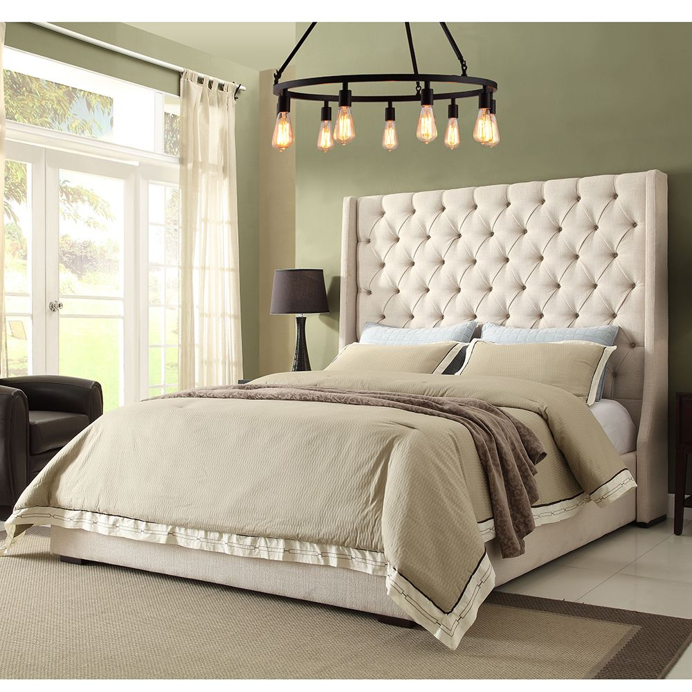 Park Avenue Queen Bed W Tall Diamond Tufted Headboard In Desert