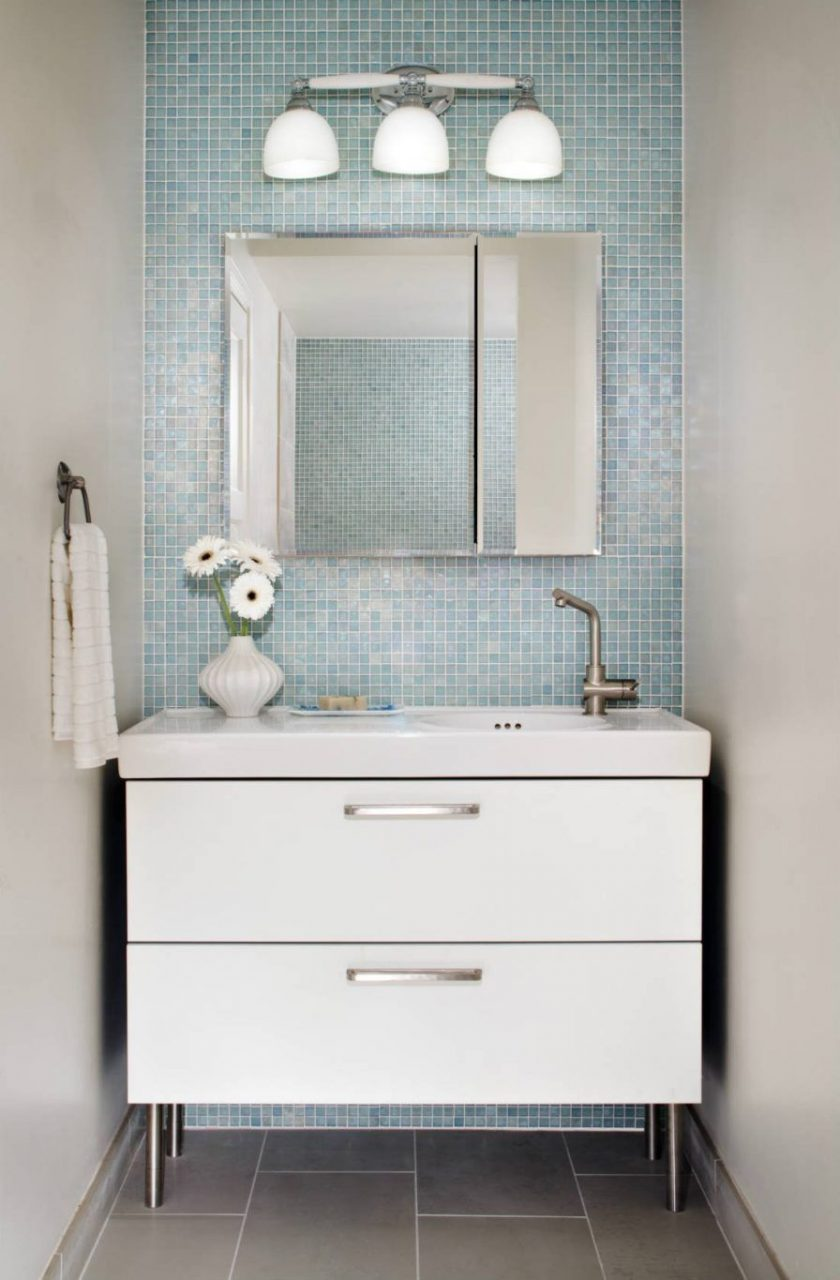 Pastel Blue Iridescent Mosaic Tile Adds A Sweet And Glamorous