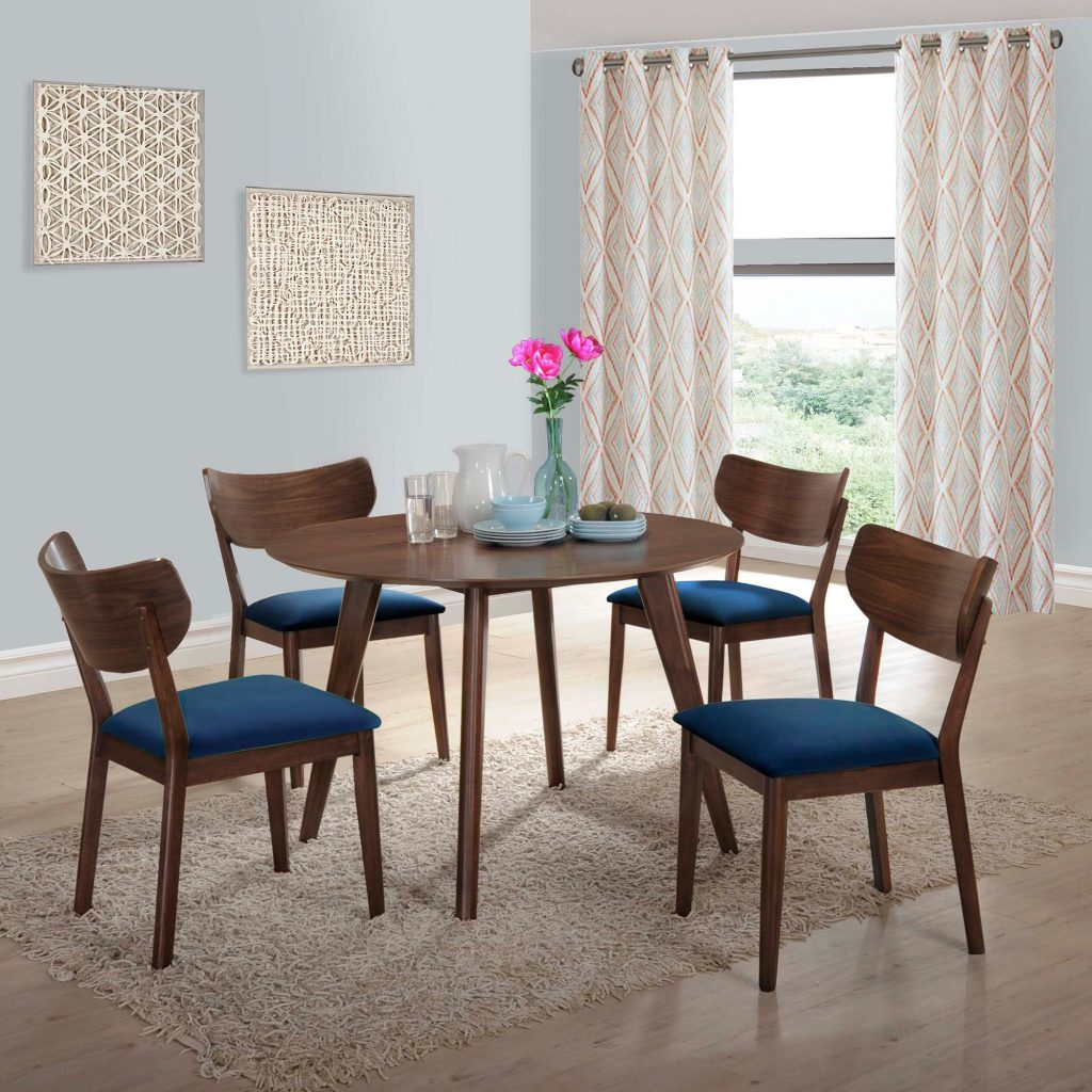 Picket House Rosie Walnut Navy Blue Fabric 5pc Dining Room Set The