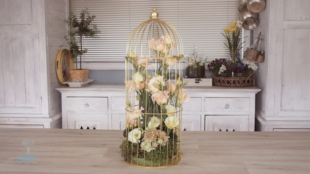 Pink Lisianthus Into A Gold Bird Cage Floristry Tutorial Youtube