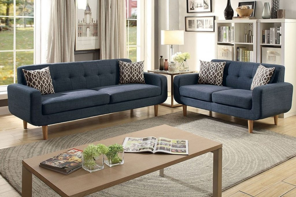 Porter Blue Fabric Mid Century Sofa Set