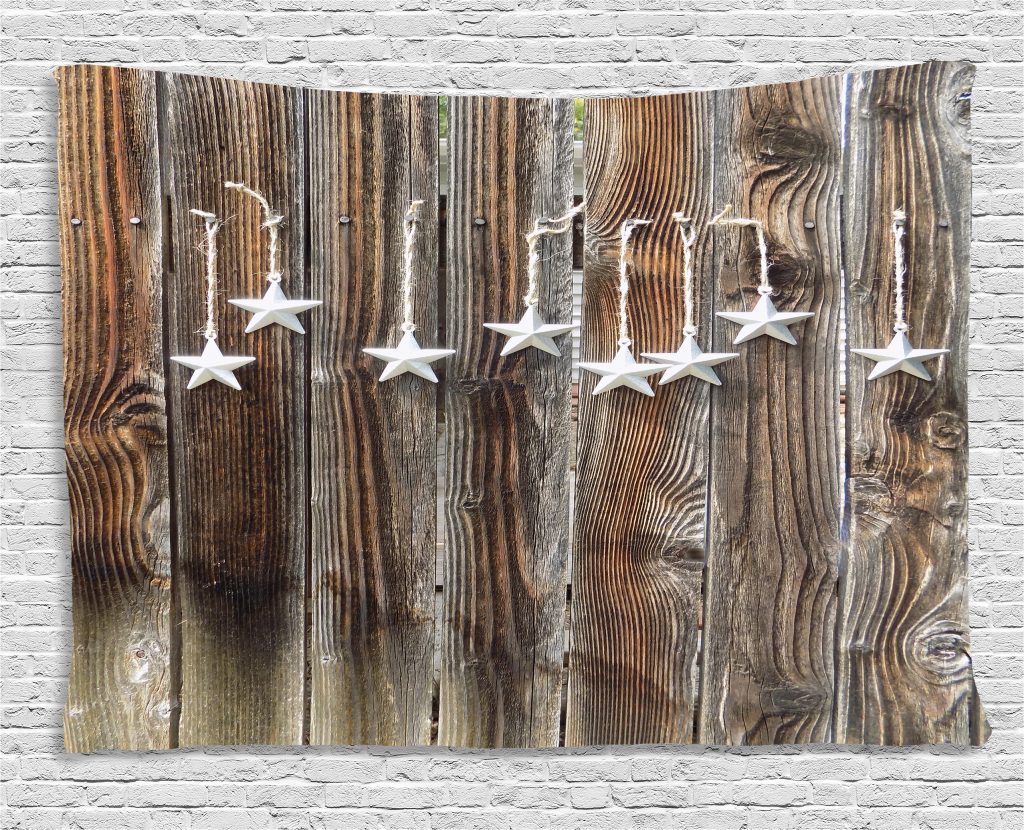 Primitive Country Decor Tapestry Silver Colored Ornate Stars On Wooden Rustic Fence Cabin Print Wall Hanging For Bedroom Living Room Dorm Decor 80w