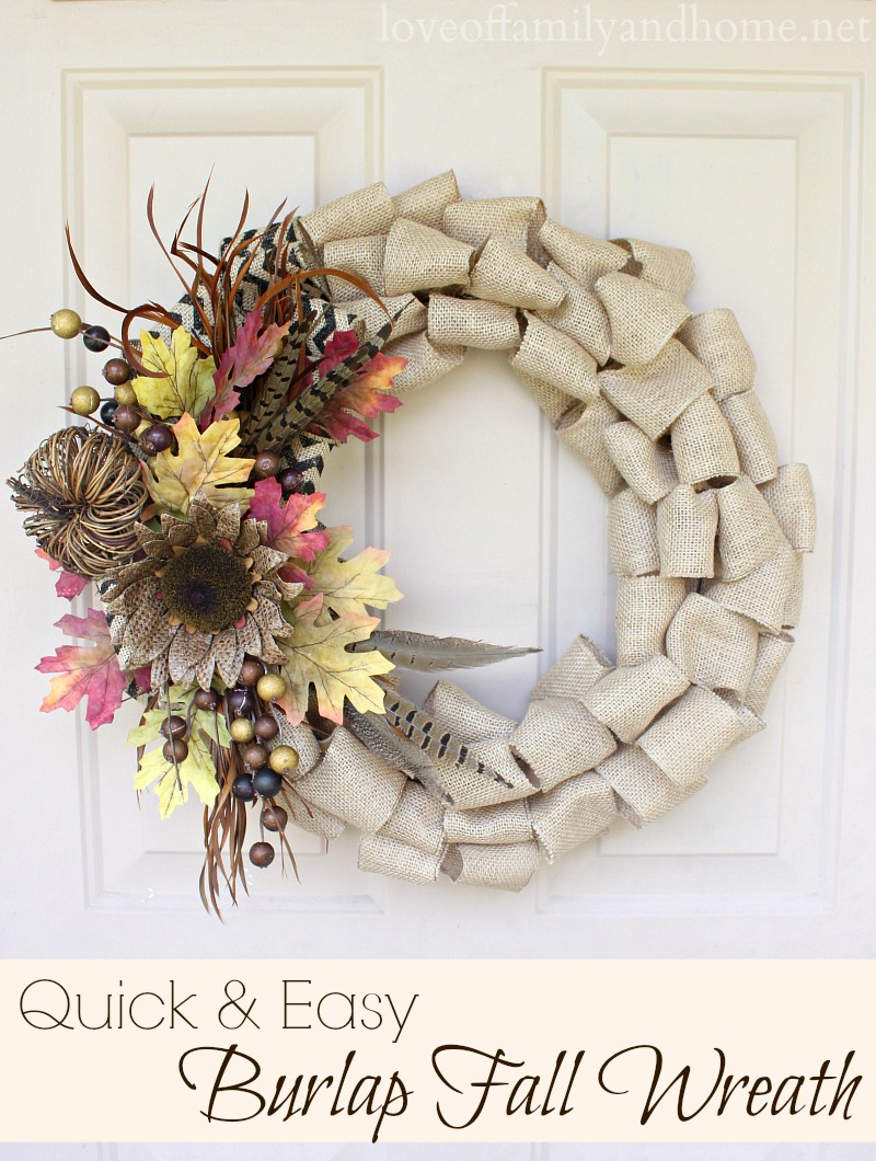 Quick Easy Burlap Fall Wreath Tutorial Love Of Family Home