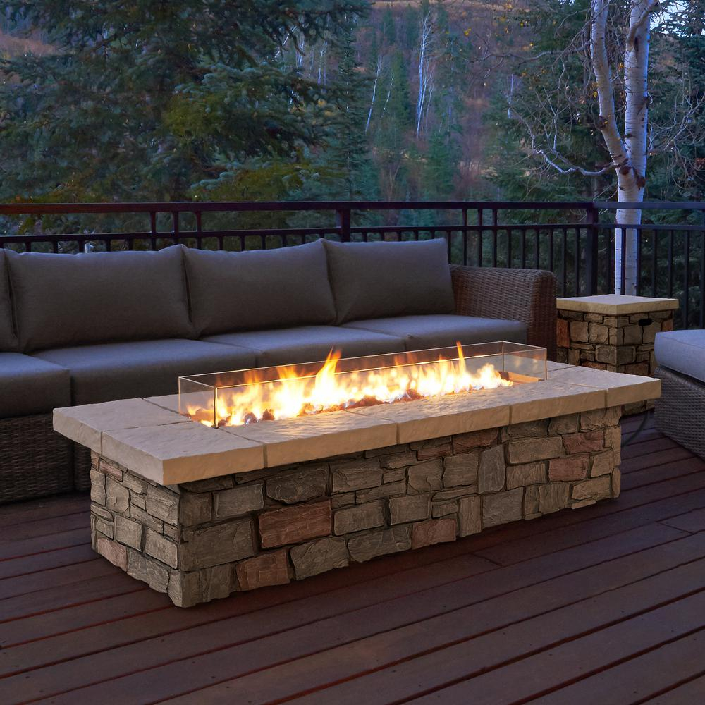 Real Flame Sedona 66 In X 19 In Rectangle Fiber Concrete Propane