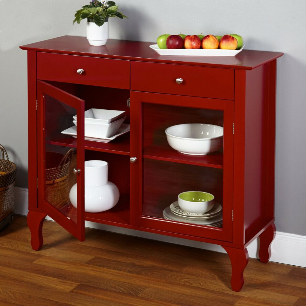 Red Kitchen Buffet Cabinet Server Shelves Glass Door Dining Room Bar