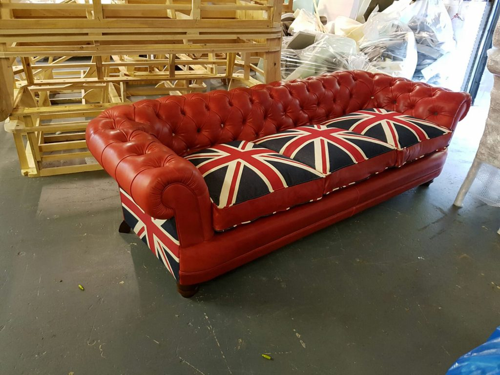 Red Union Jack Leather Chesterfield Sofa Aged To Perefction