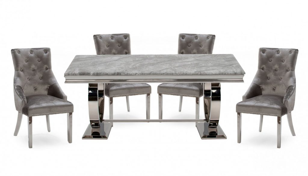 Romance Grey 18m Marble Dining Table 4 Chairs Ahf