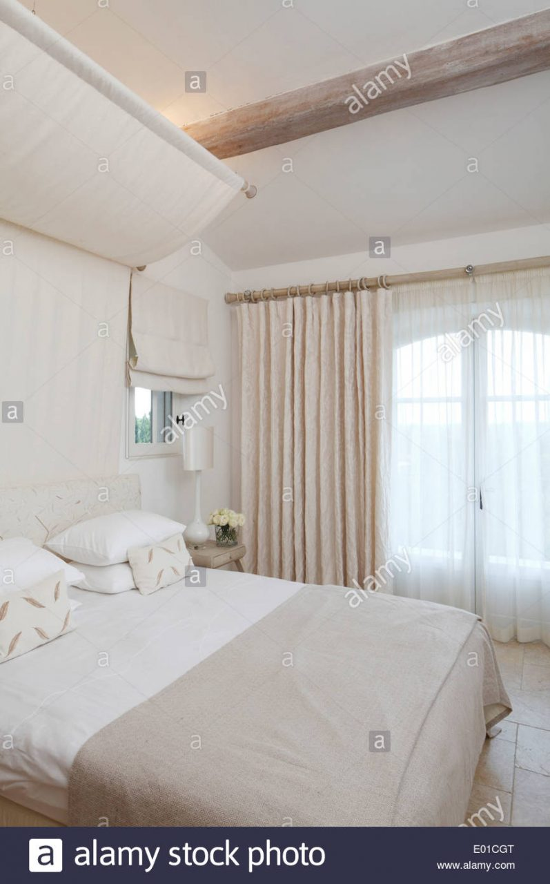 Romantic White Bedroom Belleview Villa St Tropez Stock Photo