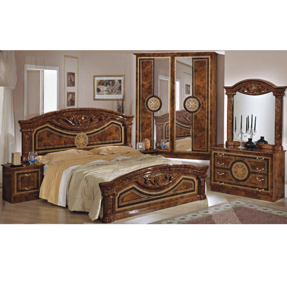 Rome Complete Italian Bedroom Set High Gloss Walnut New Room Style
