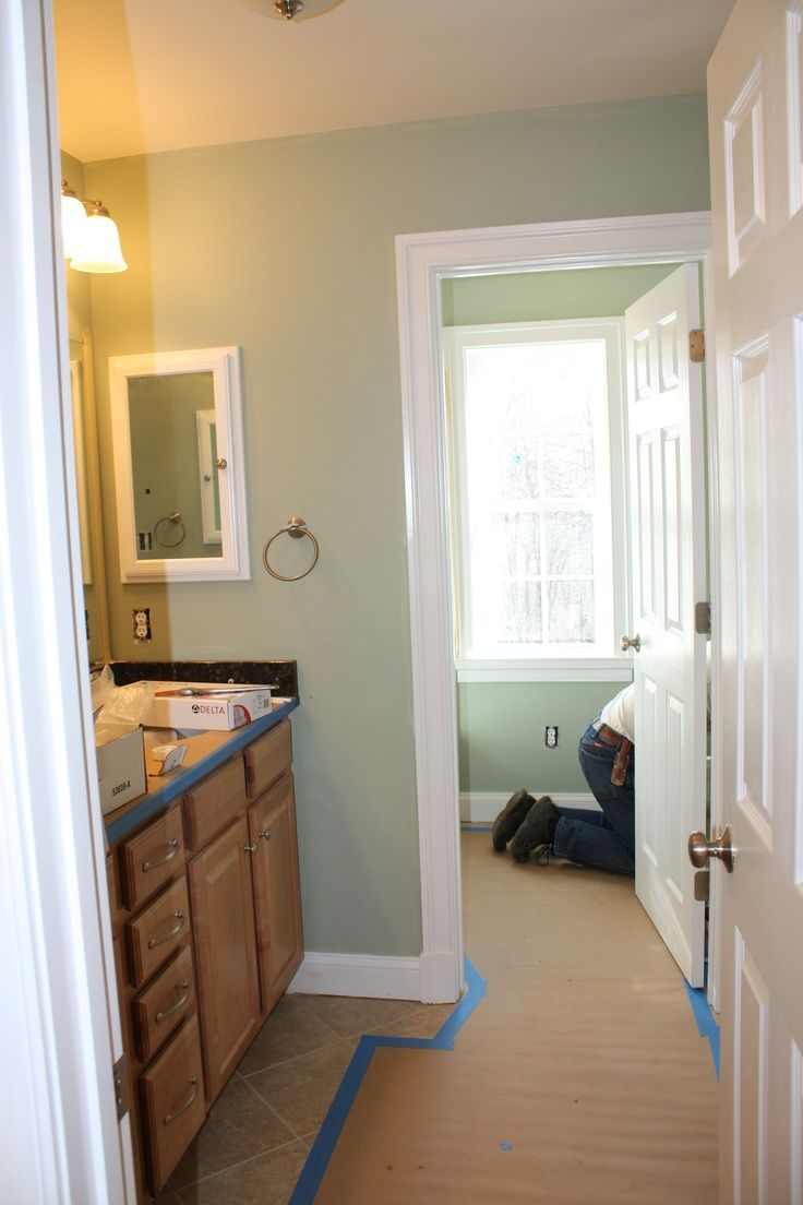 Sage White And Tan Bathroom Benjamin Moore Salisbury Green