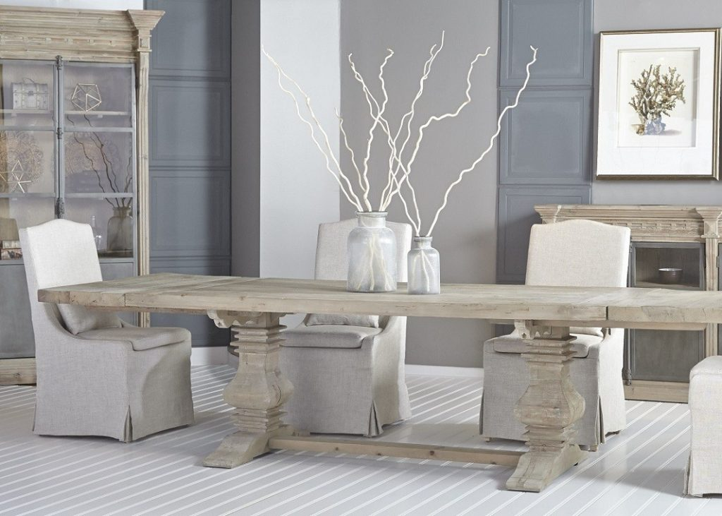 Salvaged Wood Gray Rectangle Dining Table With Trestle Base