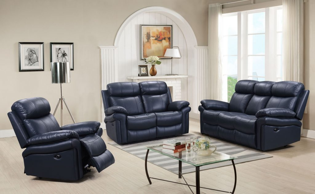 Shae Joplin Blue Leather Power Reclining Sofa 1stopbedrooms