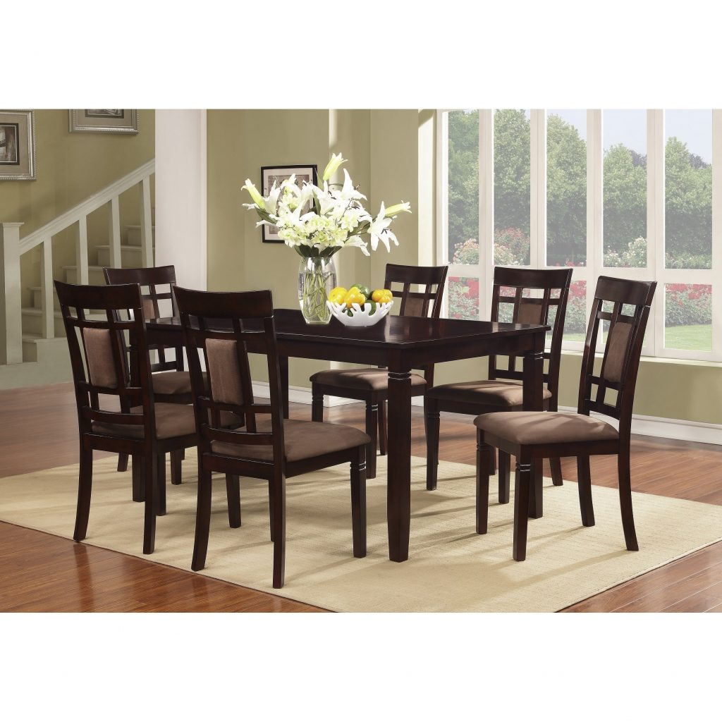 Shop 7pcs Piece Cherry Finish Solid Wood Dining Table Set On Sale