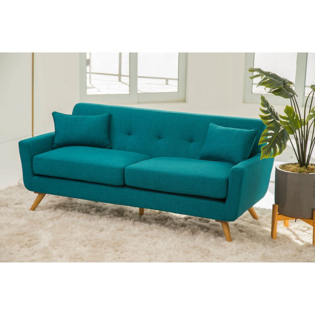 Shop Abson Bradley Teal Mid Century Fabric Sofa On Sale Free