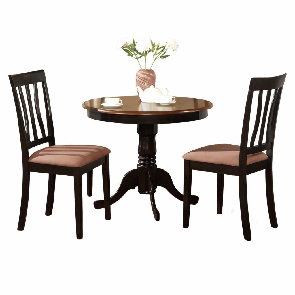 Shop Black Round Kitchen Table Plus 2 Dining Room Chairs 3 Piece