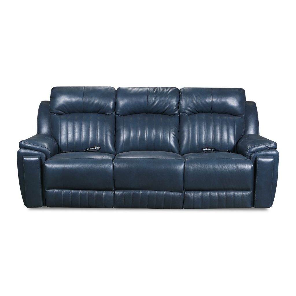 Shop Copper Grove Miramas Blue Leather Reclining Sofa With Powered