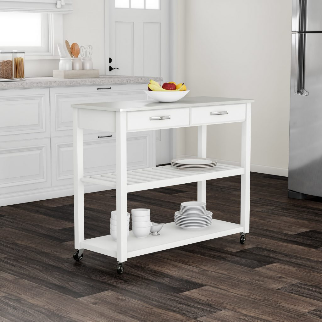 Shop Porch Den Keap White Wood Stainless Steel Kitchen Cart
