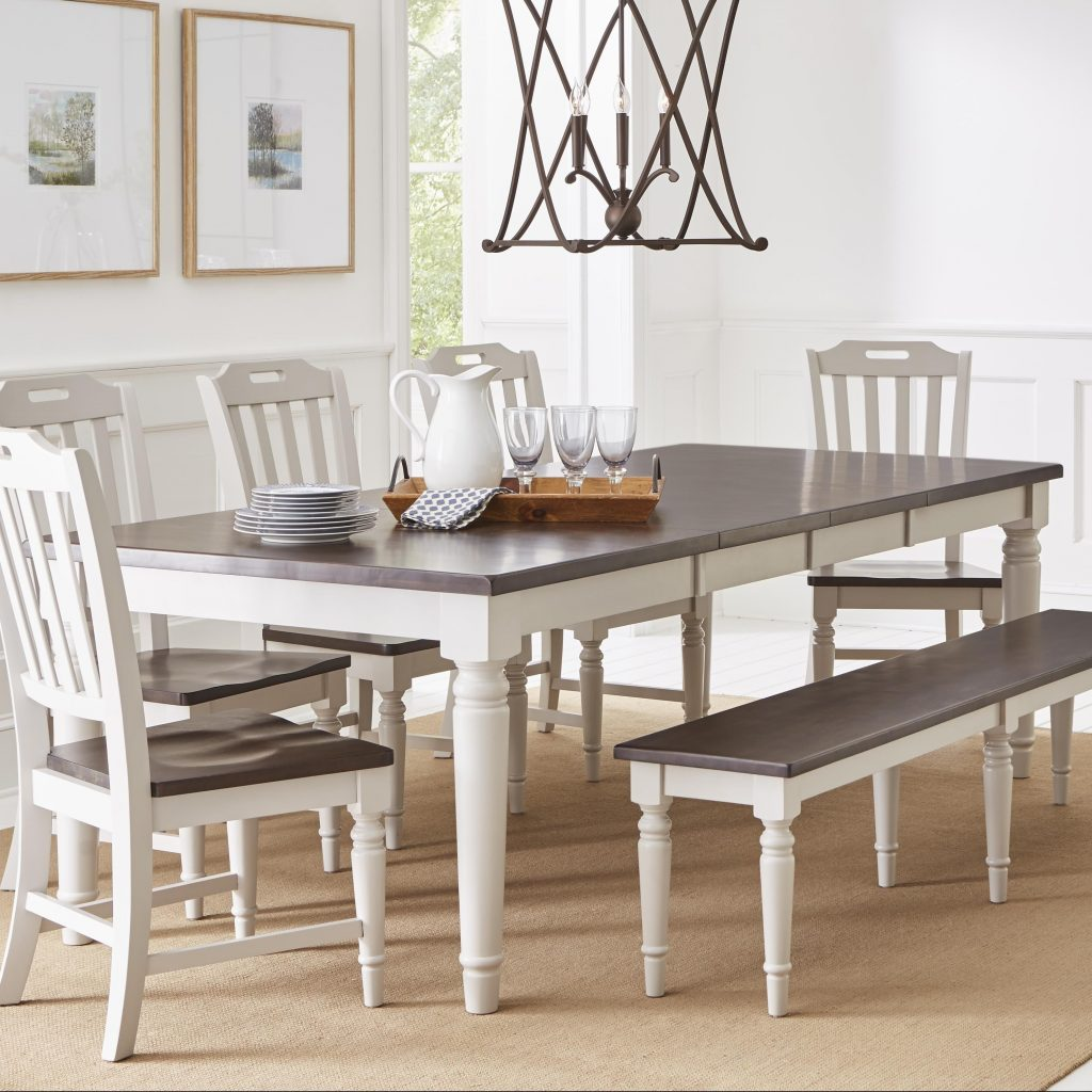 Shop Wooden Rectangular Extension Table Dark Brown And Soft Grey