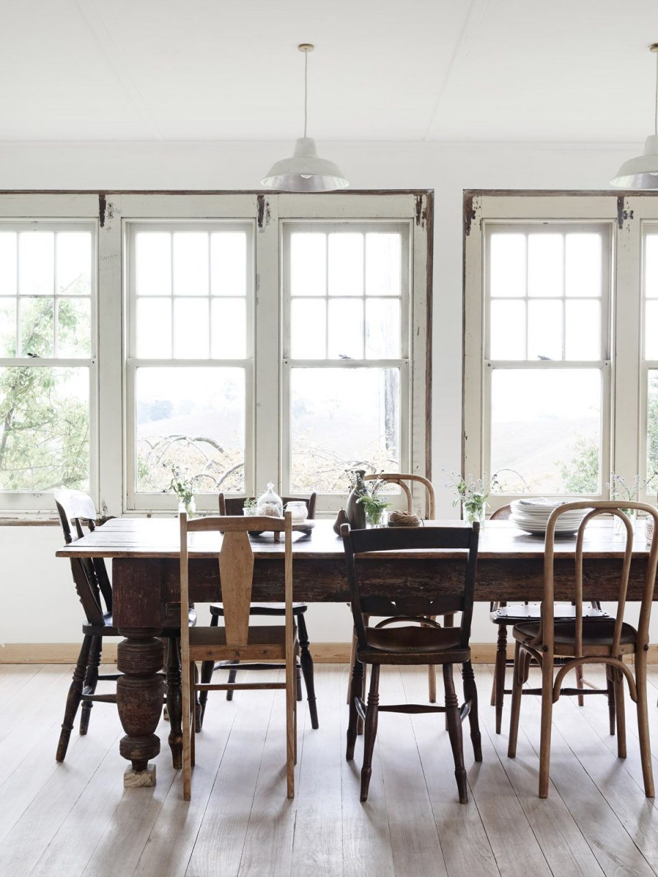 Simple Dining Room Farm Table Mixed Chairs Home Decoration