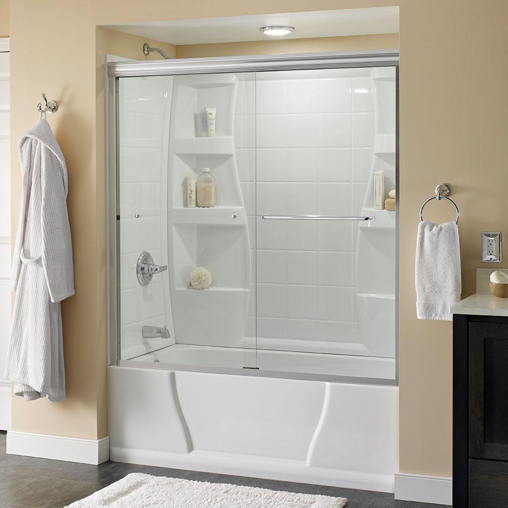 Simplicity 60 In X 58 18 In Semi Frameless Traditional Sliding Bathtub Door In Chrome With Clear Glass