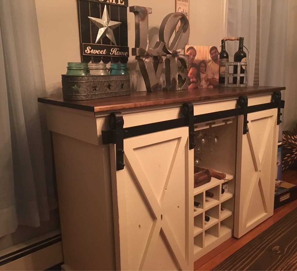 Sliding Barn Door Buffet Cabinet Wwine Storage Etsy