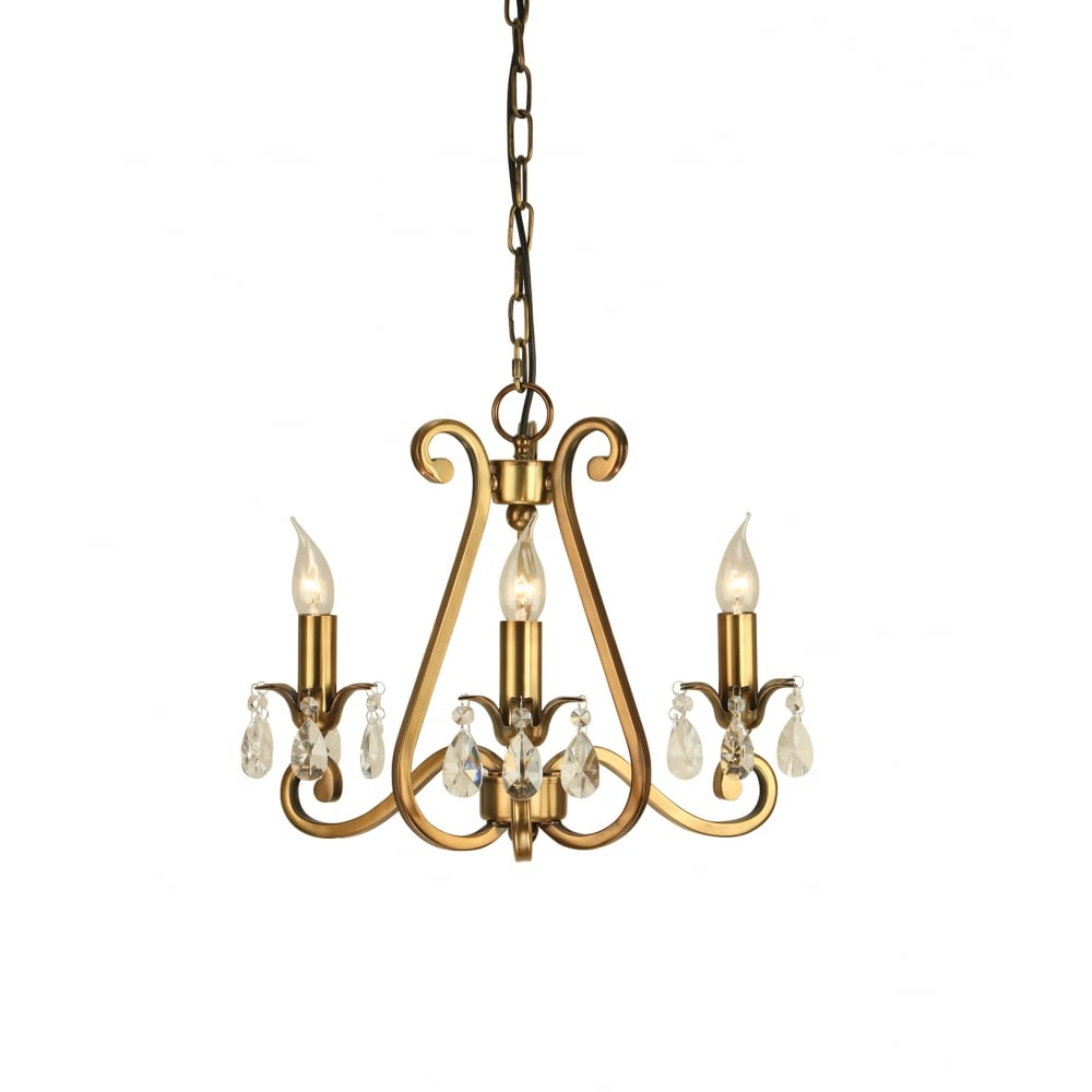 Small Antique Brass And Crystal Chandelier With Crystal Decorations