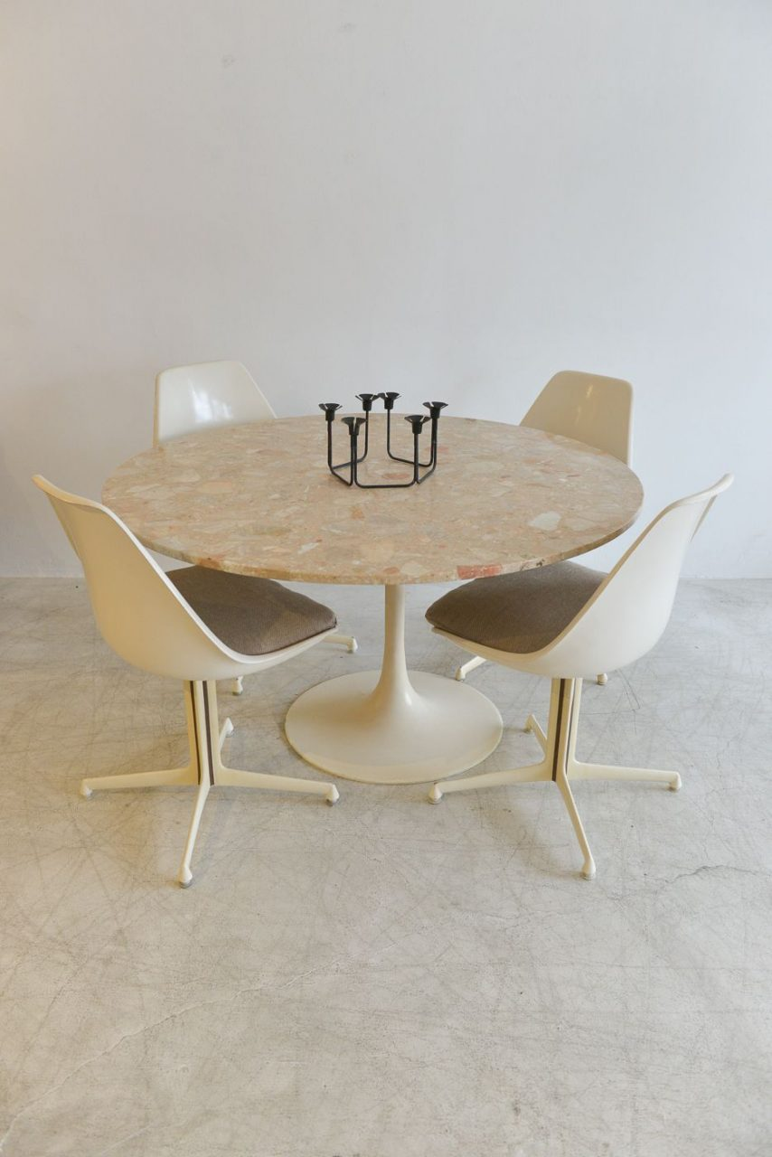 Sold Vintage Burke Marble Tulip Dining Set Mid Century Furniture