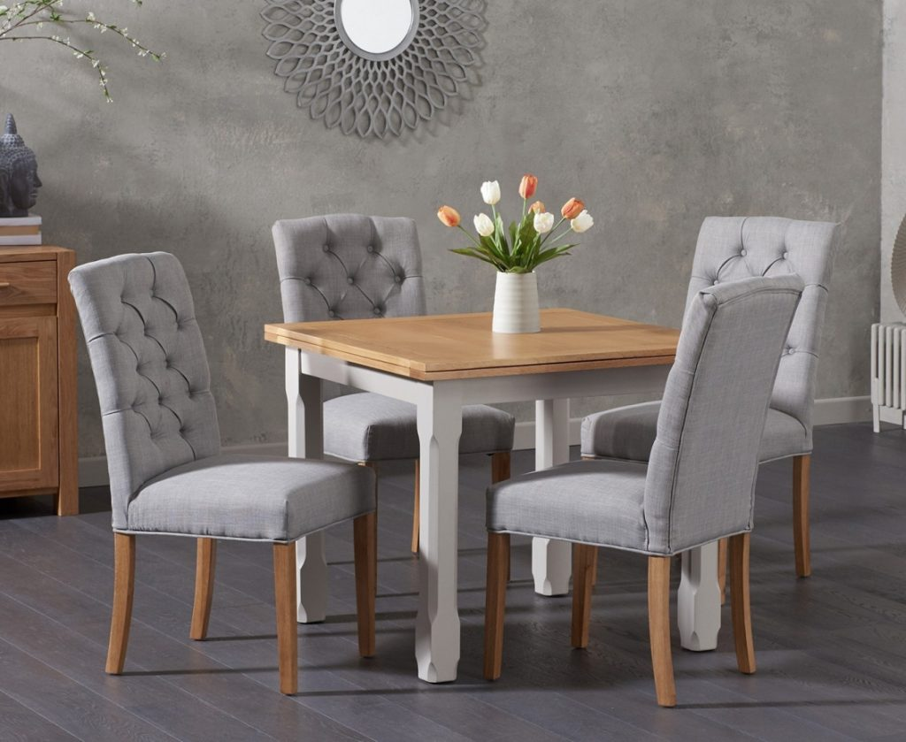 Somerset 90cm Flip Top Oak And Grey Dining Table With Candice Grey