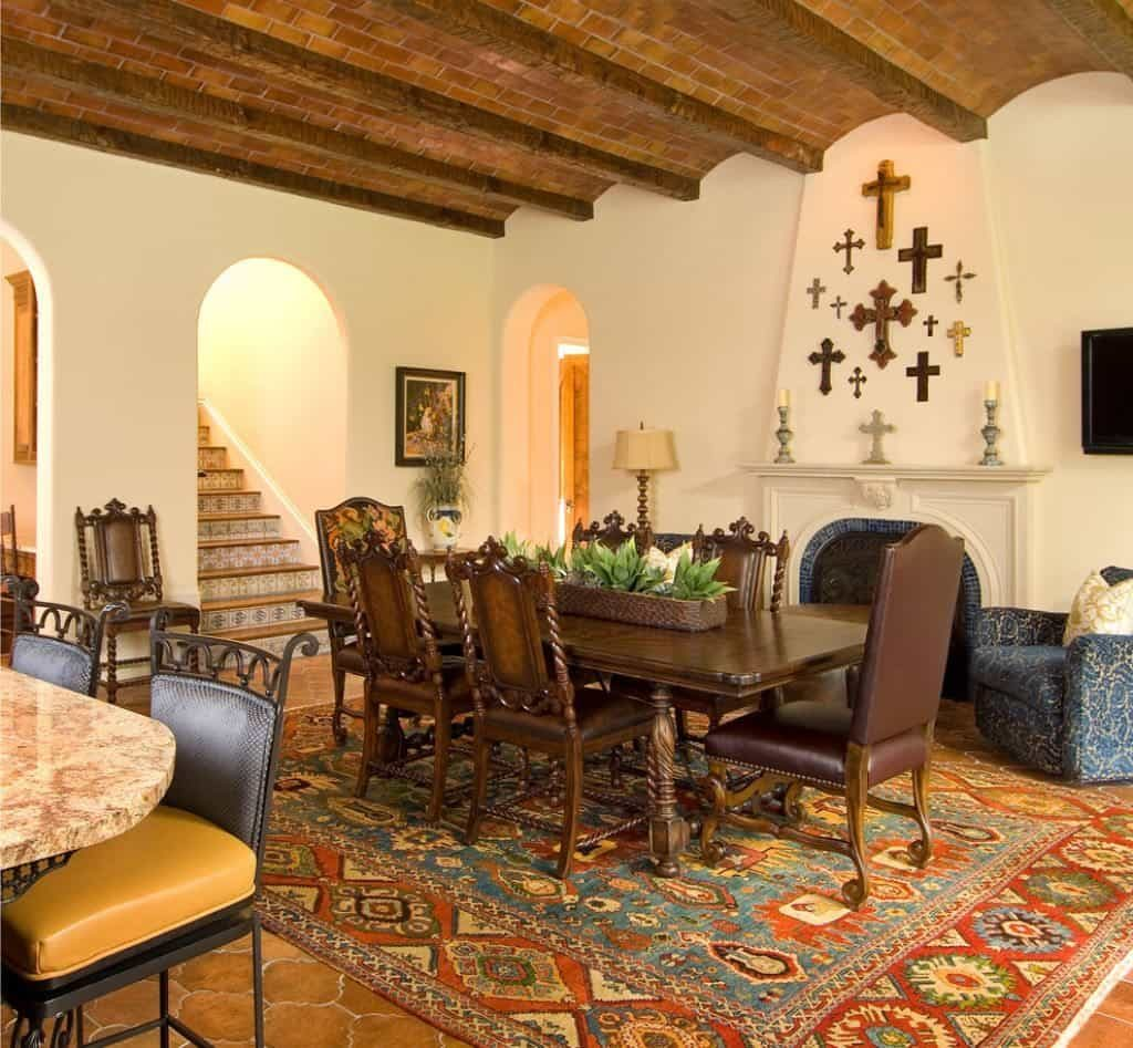 Spanish Style Living Room With Exposed Beams Spanish Style Home
