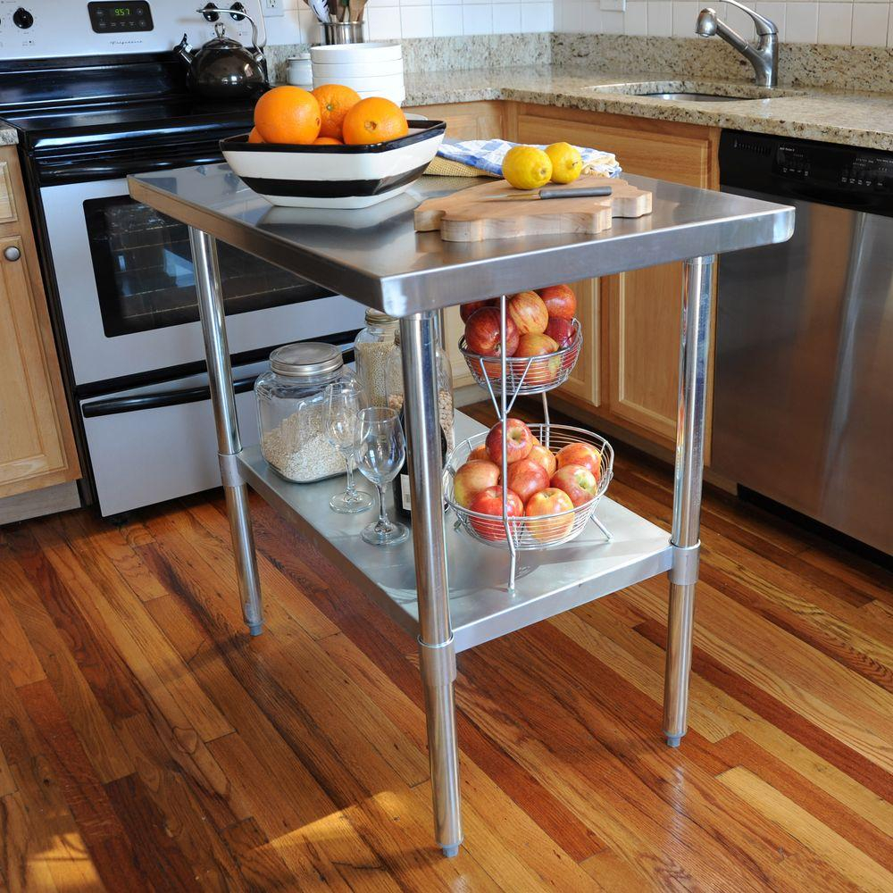 Sportsman Stainless Steel Kitchen Utility Table With Work Shelf