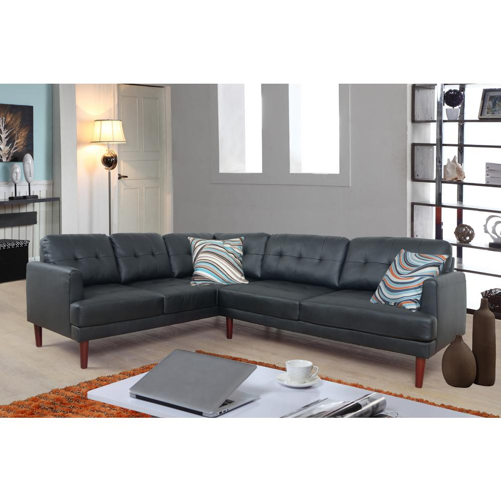 Star Home Living Black Faux Single Line Tufted Leather Sectional