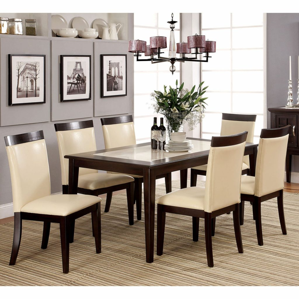Steve Silver Monarch 7 Piece Marble Top Dining Set Walmart