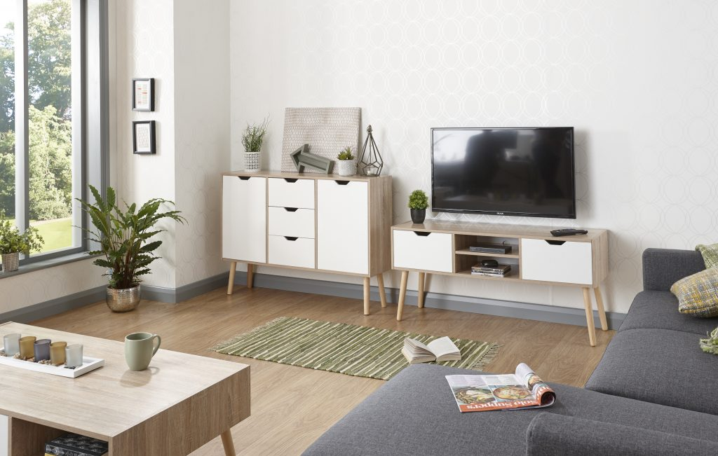 Stockholm White Oak Living Room Range Sideboard Coffee Table