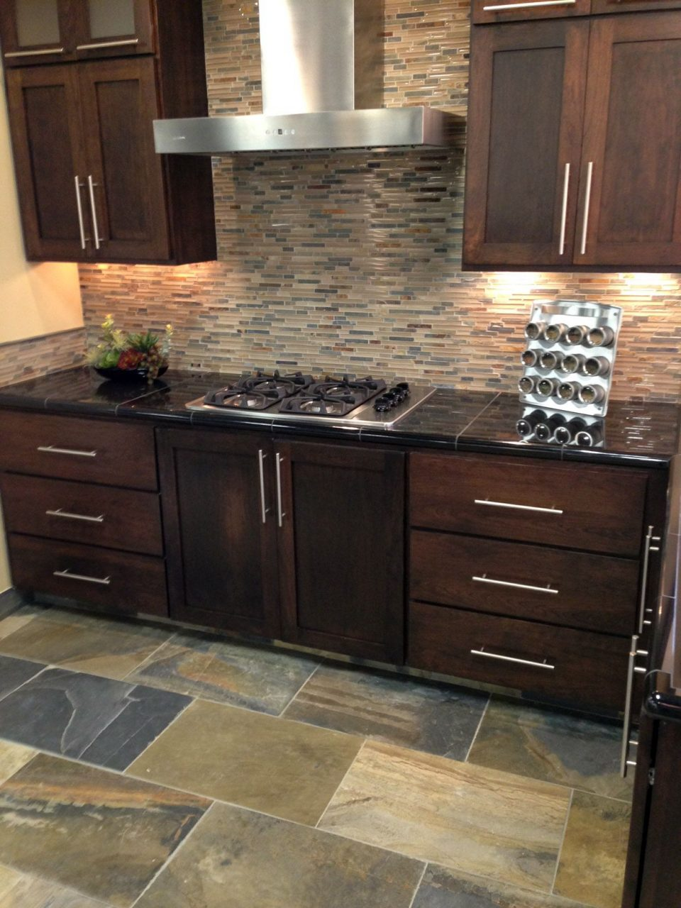 Stone Glass Mixed Mosaic Backsplash With Oversized Slate Tiles For