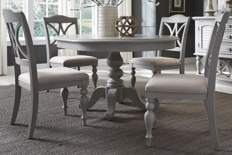 Summer House Dove Grey Round Extendable Dining Table 1stopbedrooms
