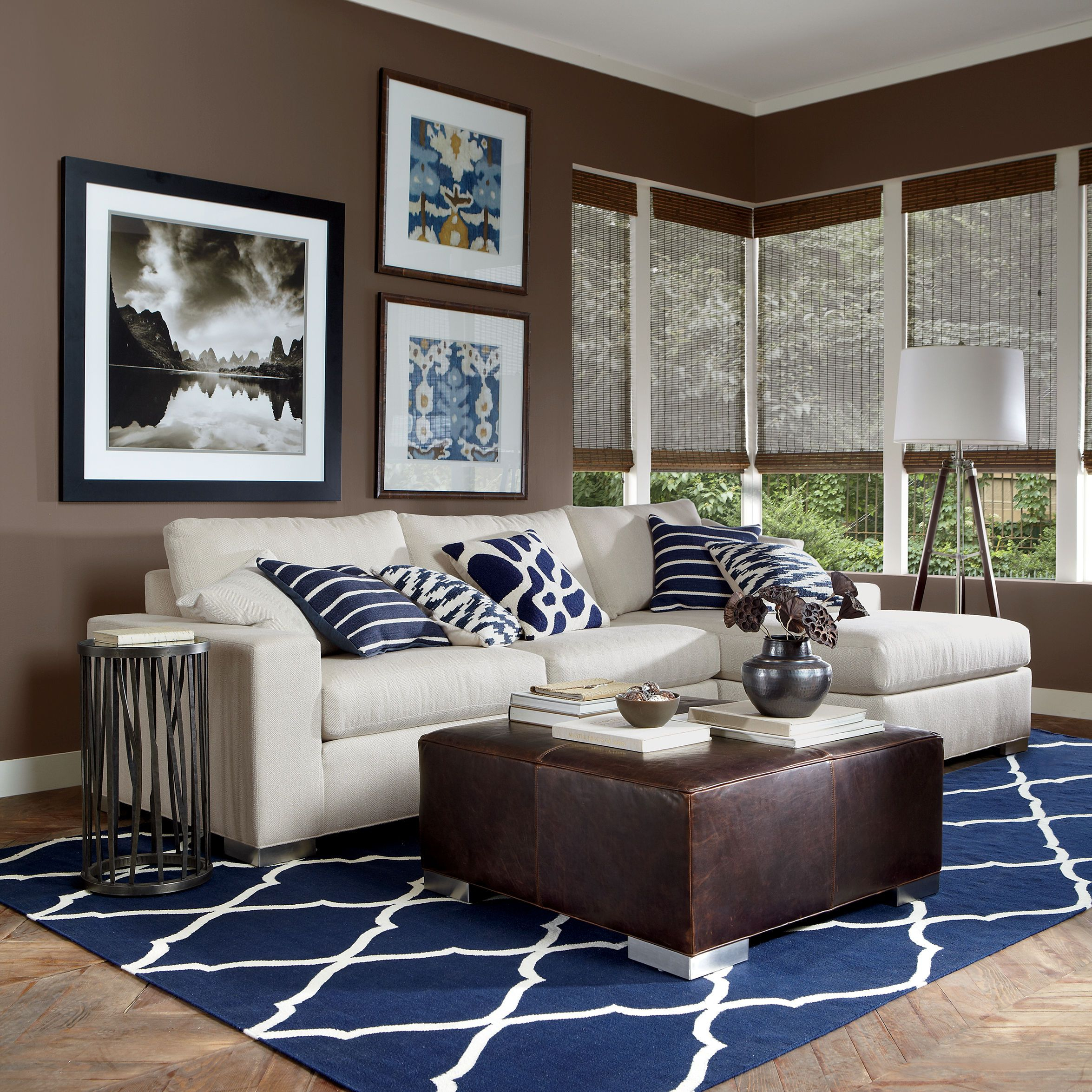 Surveyors Floor Lamp In 2019 Ethan Allen Brown Blue Living