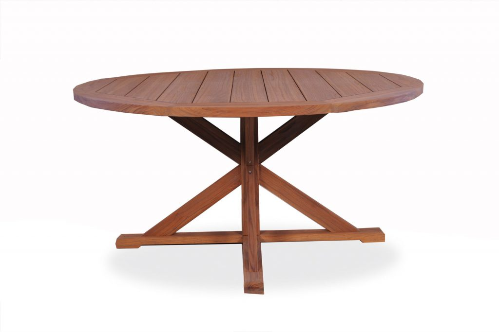 Teak 60 Round Dining Table Cross Base 286160