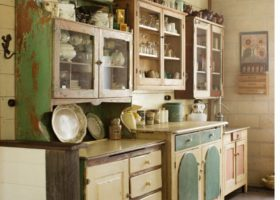 Kitchen with Mismatched Cabinets