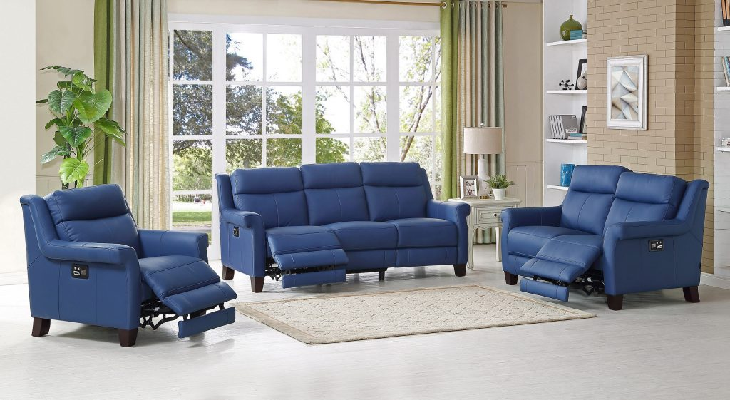 The Dolce Blue Leather Sofa Amax Leather At Ricks Picks