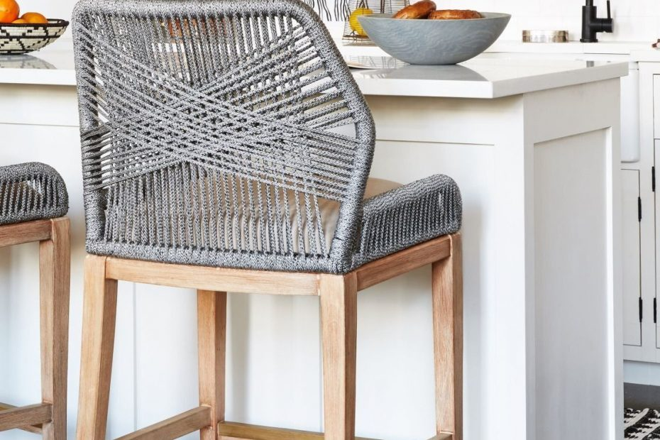 These Woven Rope Counter Stools Are Such A Fun Unexpected Kitchen