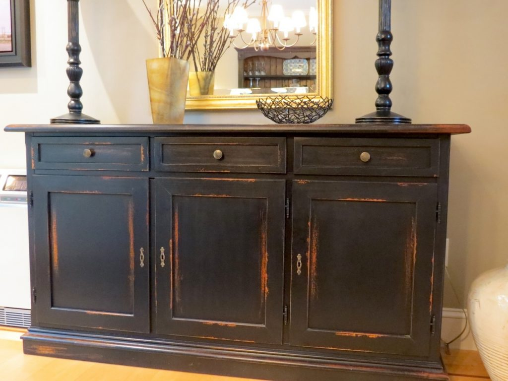 Three Drawer Black Buffet For Dining Room Ecustomfinishes