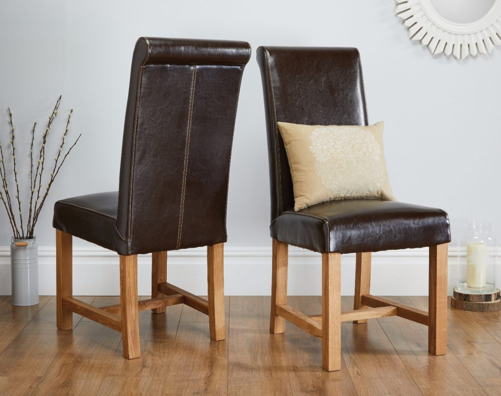 Titan Chocolate Brown Premium Leather Dining Chair Free Delivery