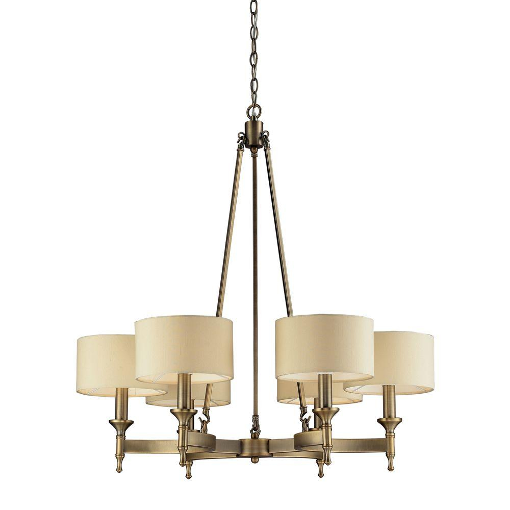 Titan Lighting Pembroke 6 Light Antique Brass Chandelier With Light