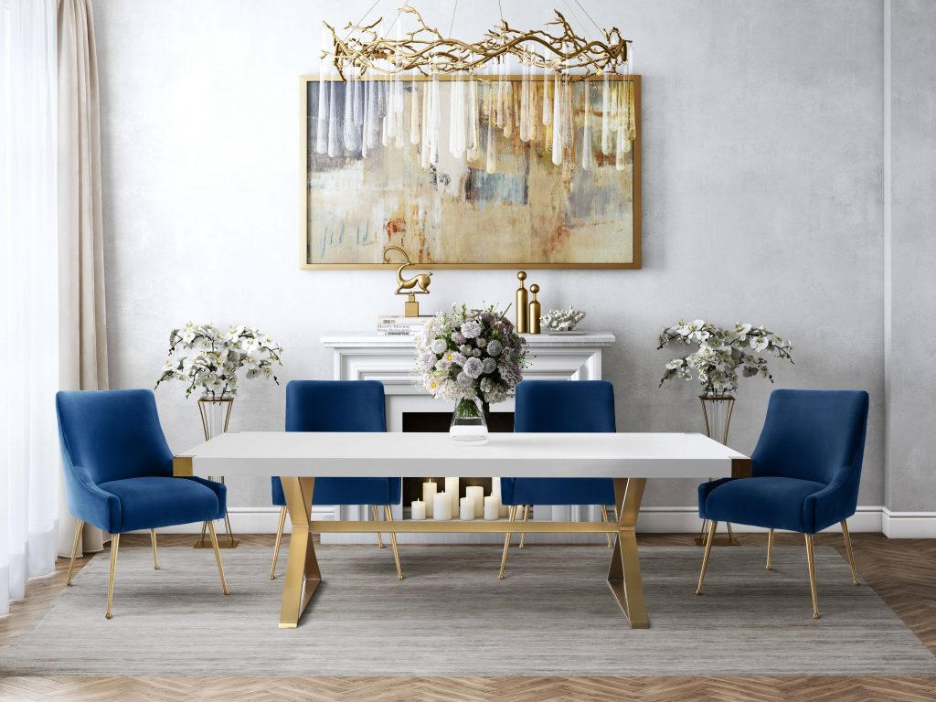 Tov Furniture Adeline 5pc Dining Room Set With Navy Chairs The