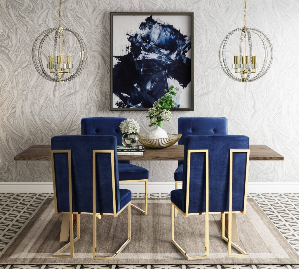 Tov Furniture Leah Brown Navy Gold 5pc Dining Room Set The Classy Home