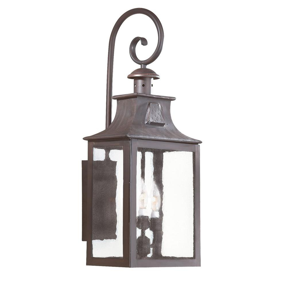 Troy Lighting Newton 3 Light Old Bronze Outdoor Wall Lantern Sconce