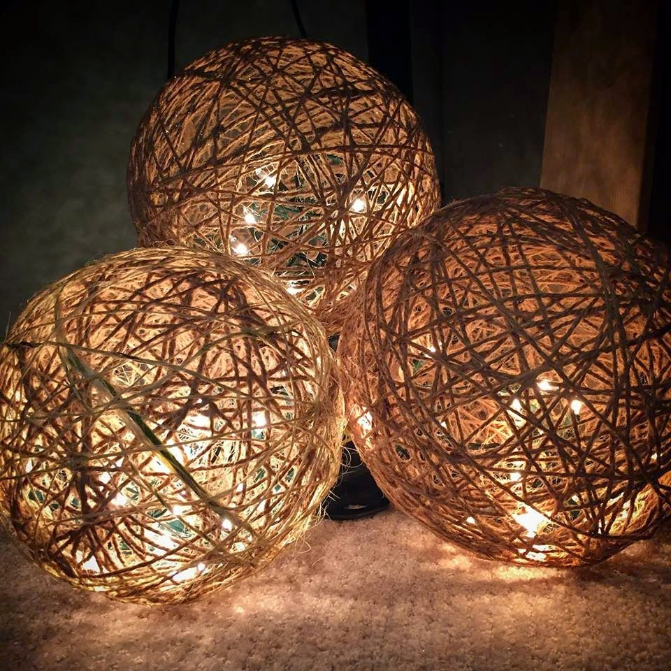 Twine Spheres Diy Home Twine Crafts Ball Lights Christmas Diy