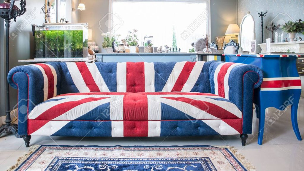 Union Jack Sofa In Living Room Stock Photo Picture And Royalty Free
