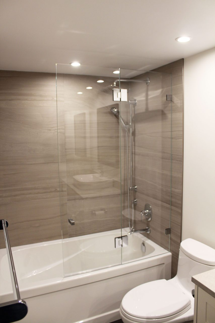 Vancouver Condo Bathroom Renovation Wall Tiles Shower Glass Riobel