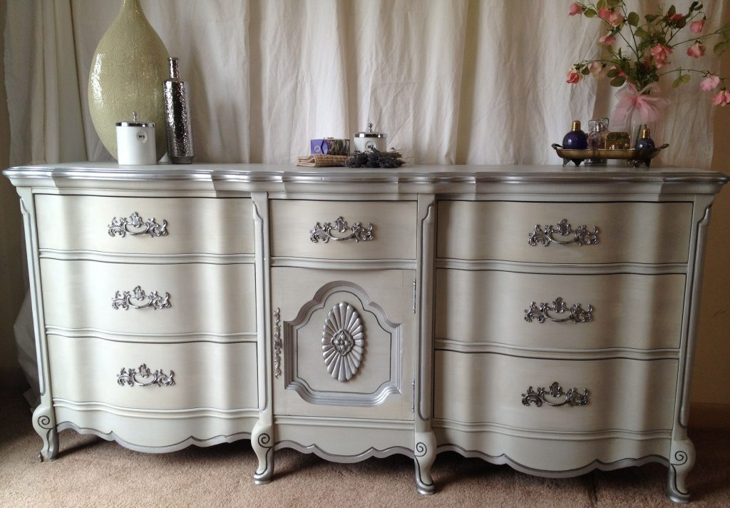Vintage French Provincial Dresser Paris Grey Silver C French